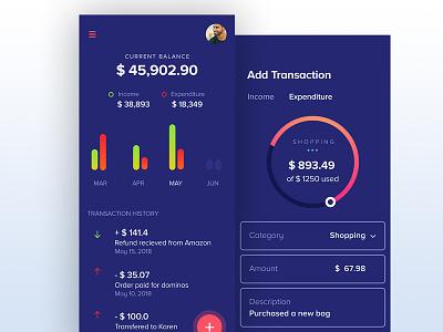 UI Design For Expense Management App mobile app design ui design wallet app finance app