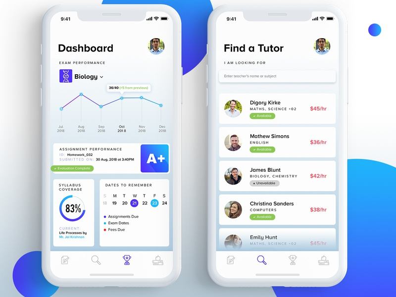 UI Design For Teacher Parent and Student Interaction