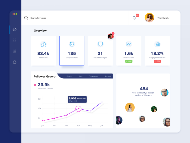 Dashboard view for a social analytics tool
