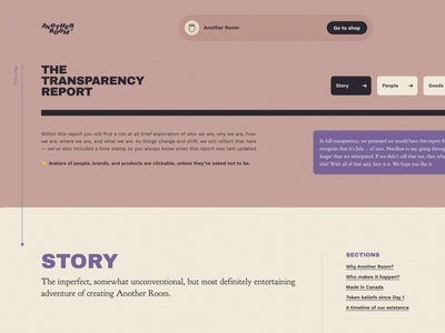 The Transparency Report – Another Room interactive website branding webflow report transparency cannabis ux design