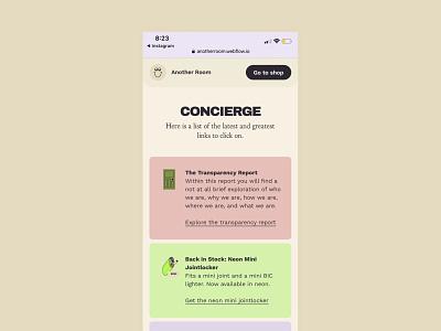 Another Room – Concierge custom linktree concierge webflow branding website cannabis design ux ui