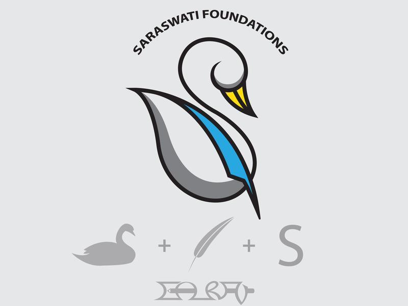 Saraswati Foundations Logo yellow blue education study pen bird typography branding pictogram character logo design illustration graphics graphic