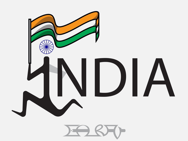 India cartoon pictogram pictograms white blue green orange character graphic design graphics graphic flag tricolor art type art illustration typography type typo india