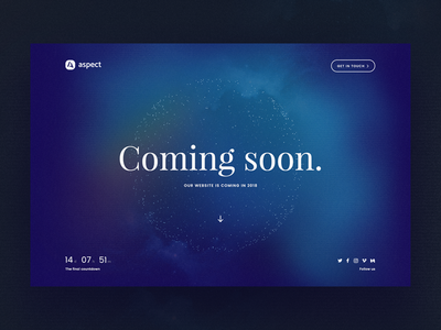 Aspect concept coming soon personal site landing page responsive interface web design ui