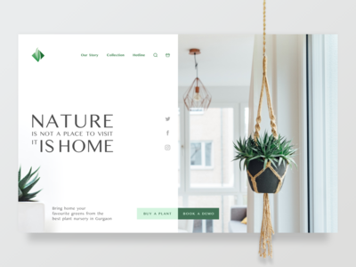 Nursery Website Concept - Landing Page web minimalism simple concept green plant minimal ecommerce ui clean landingpage 3d design webdesign flat website