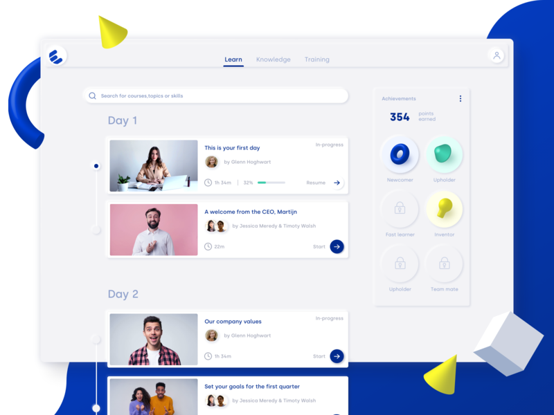 Employee Onboarding App Dashboard | E-learning web ux app ui dashboad elearning