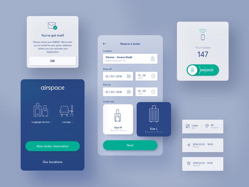 App interface for a self-service luggage storage app branding travel app mobile app design mobile ui mobile ux ui app