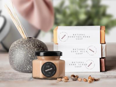 Nailed studio labels packaging branding scrub naturalsoap natural beauty studio nail salon nailed