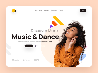 Music Landing Mockup graphic design uiuxdesign landing design landingpage music minimal flat mobile ui app design uidesign app ux ui ui design design