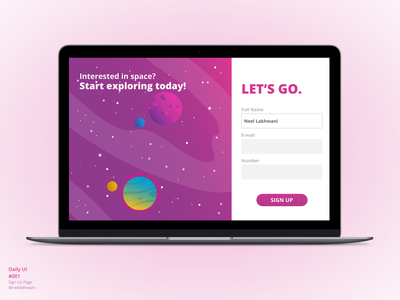 Sign Up Page | Daily UI #001 experiencedesign design web space signup ux interactiondesign dailyui001 dailyui website webpage 001 ui