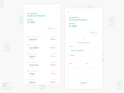 Expense Calculator | Daily UI #004