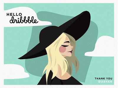 Hello Dribble ! 🏀 paper art inspo inspiration paper minimalist cloud travel woman blonde illustration paulette studio