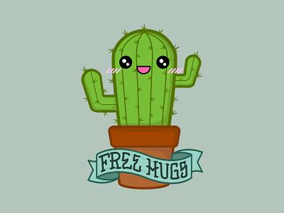 Love Hurts tattoo cactus cute flatdesign flat illustration kawaii