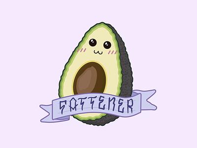 Cute Avocado cute pastel fruit avocado illustrator kawaii flat illustration