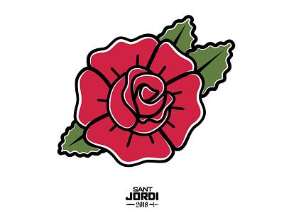 Sant Jordi Rose design catalonia barcelona folky traditional flower old school flat illustration rose