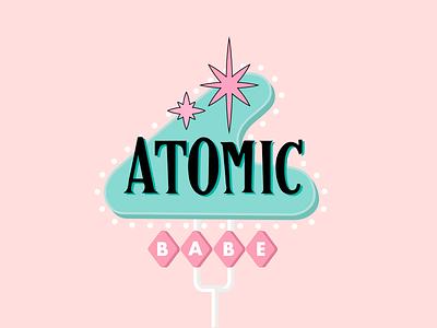 ATOMIC BABE era atomic american pink girl cute pastels flat illustration sign retro 50s