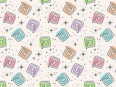 Starburst Hangover design seamless artwork atomic retro pastel pastels illustration fifties pattern