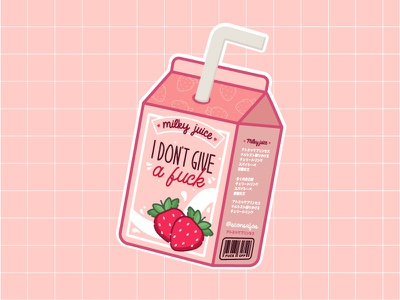 IDGAF Milky Juice japanese strawberry pink pastels miniature videogame packaging food illustration cute art kawaii cute
