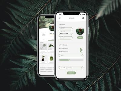 Daily UI #007 Settings plants 007 ui collective iphone app design dailyui ui design collect ui daily ui 100 day ui challenge