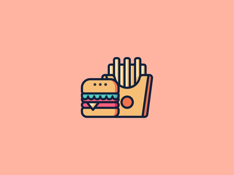 Fast food Icon burger junkfood fastfood outline filled icon set illustration iconography icons set icon a day icons icon