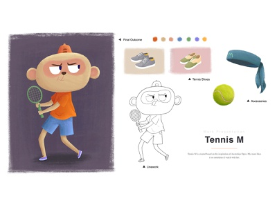 Tennis M 01 shoes game tennis player tennis sport monkey doodle animal digital art animation kidlitart visual development illustration childrensbooks concept art character design