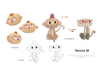 Tennis M 02 player tennis monkey doodle animal digital art animation kidlitart visual development illustration concept art childrensbooks character design