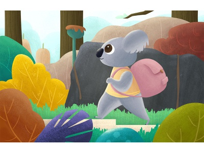 Koala the Traveler workout sport plant forest mountain hiking backpacker travel koala animal digital art animation kidlitart visual development illustration concept art childrensbooks character design