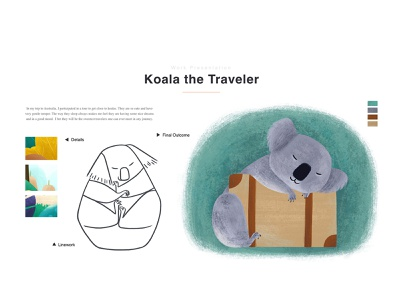Koala the Traveler 02 sleep linework luggage koala animal digital art animation kidlitart visual development illustration concept art childrensbooks character design