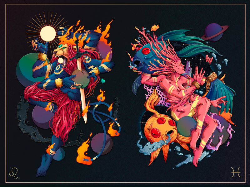 Astral.12 Leo & Pisces design detailed peru pisces leo zodiac signs zodiac character designer character design illustration
