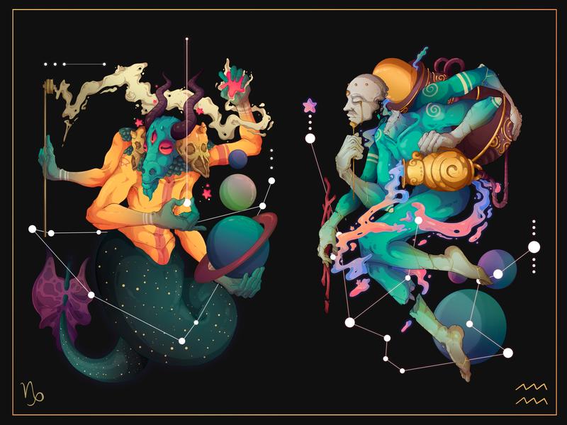 Astral.12 Capricorn & Aquarius leo capricorn peru freelance illustration design character design