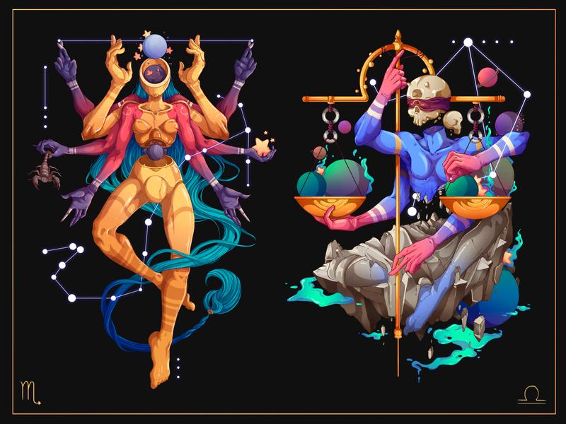 Astral.12 Scorpio & Libra prints libra scorpio character designer detailed zodiac zodiac signs freelance peru illustration design character design