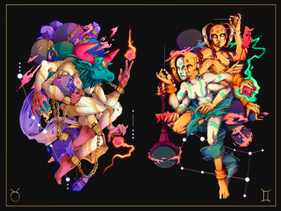 Astral.12 Taurus & Gemini gemini taurus zodiac zodiac signs freelance detailed character designer peru illustration design character design