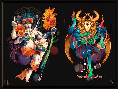 Astral.12 Virgo & Aries aries virgo prints zodiac signs zodiac freelance character designer peru design illustration character design