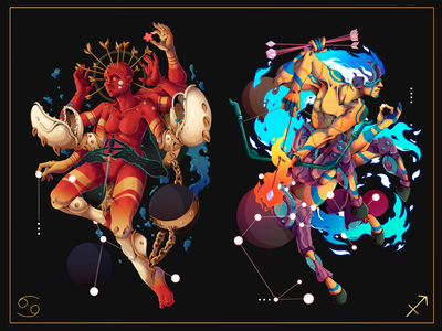 Astral.12 Cancer & Saggitarius saggitarius cancer leo zodiac signs zodiac freelance character designer peru illustration design character design