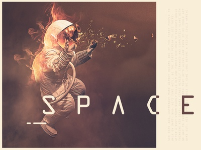Astronaut Matte Painting Experiment  stars space type typography astronaut illustration doubleexposure photoshop painting matte