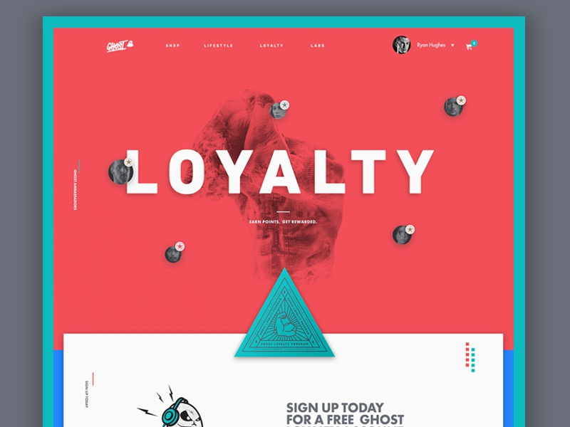 Loyalty Comp typography bright modern layout landingpage homepage hero grid editorial comp clean