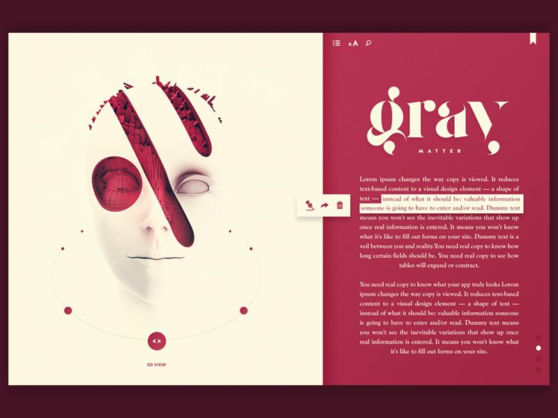 Greymatter ux ui editorial book landingpage redesign hero reader render c4d