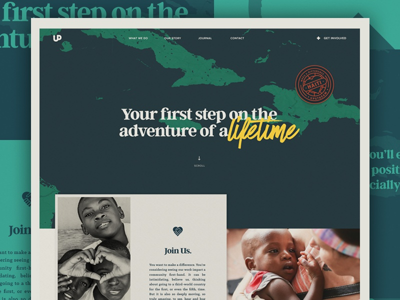 Join A Trip editorial script typography badge ui ux blue child grid home hero landingpage