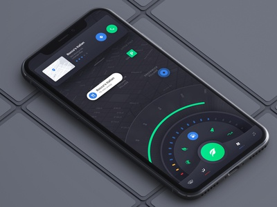 Random Experiment dark iphonex mobile landingpage iphone car clean flat gui map ux ui