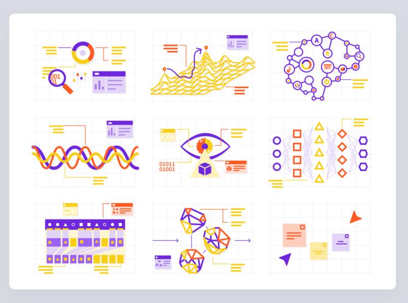 Confetti colorful graphs illustration ai