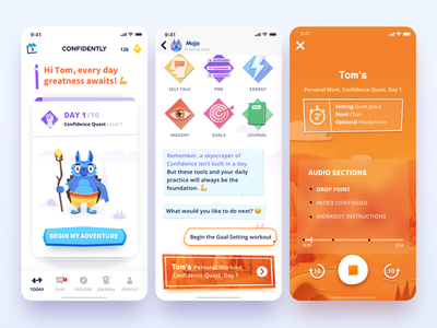 Confidently character colorful illustration coaching app