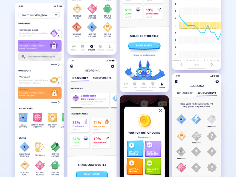 Confidently coaching colorful app design assets illustraion app