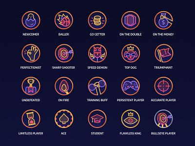 Mathy - Set of badges game app neon iconset illustraion badges