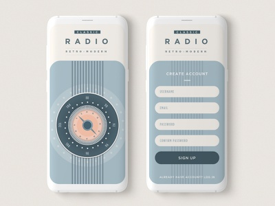 Classic Radio - Create Account clean ui app design ui design minimal