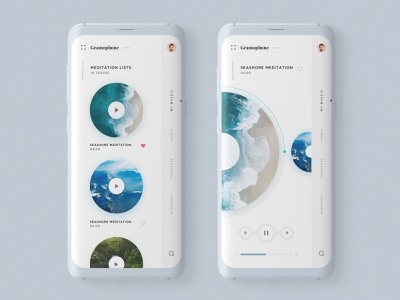 Gramophone App  - 🎼 Music Player Concept user interface retro music player music app design typography minimalistic userinterface ux design ux minimal clean ui design ui