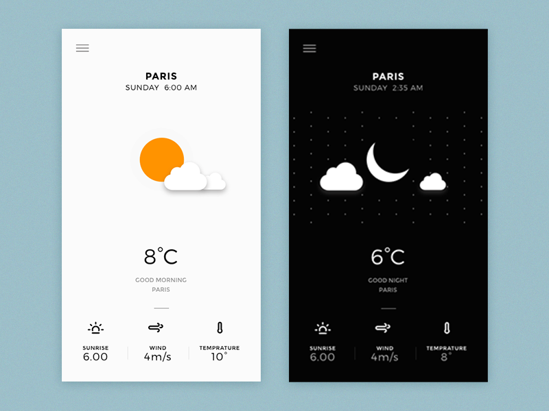 Day & Night Ui  neat clean ui weather app userinterface minimal