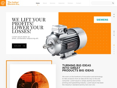 Indian Electric - Website Redesign typographic ui  ux design orange webdesign minimal clean