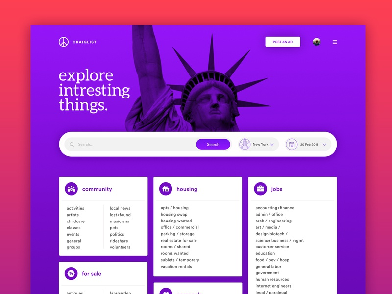 Browse Thousands Of Craigslist Redesign Images For Design Inspiration Dribbble
