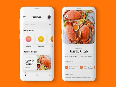 Paprika App Redesign minimalism recipeapp ui app ux clean ui design minimal