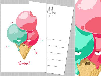 Grumpy Ice-cream greetings card irony fun greetingscard card digitalart rikoandthehuman grumpy icecream